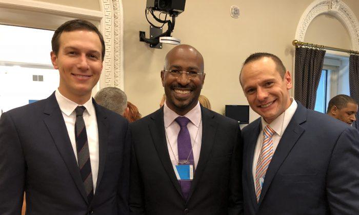 (L-R) Jared Kushner, Van Jones, and John Koufos at White House summit on Prison Reform in the White House in Washington on May 18, 2018. (Courtesy John Koufos)