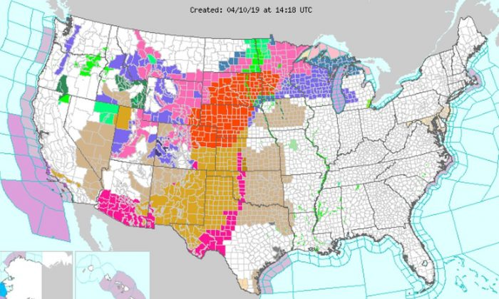 Six states are under a blizzard warning, which is marked in red on the map (NWS)