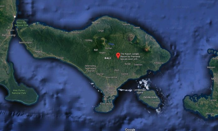The location of the Kayon Jungle travel resort in Bali. (Screenshot/Google Maps)