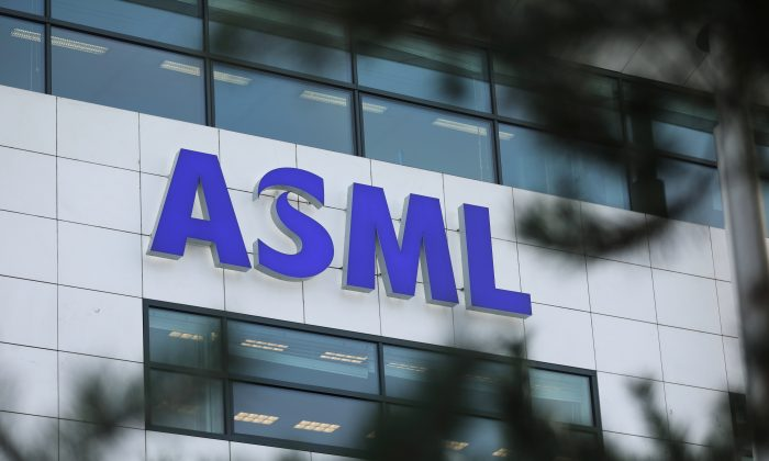ASML Holding logo is seen at the company's headquarters in Eindhoven, Netherlands, on Jan. 23, 2019. (Eva Plevier/Reuters)