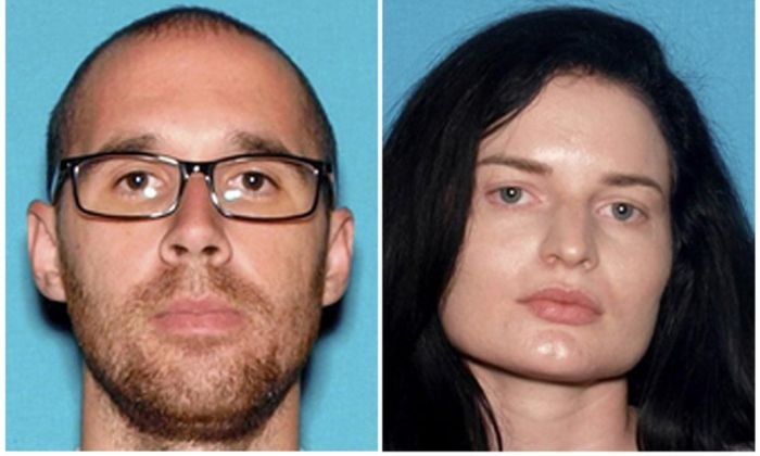 This combination of undated photos provided by the San Bernardino County Sheriff's Department shows Eric Desplinter, left, of Chino Hills, Calif., and Gabrielle Wallace of Rancho Cucamonga, Calif. (San Bernardino County Sheriff's Department/File via AP)