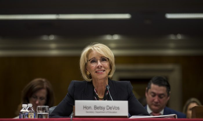U.S. Secretary of Education Betsy DeVos testifies during a Senate Labor, Health and Human Services, Education and Related Agencies Subcommittee discussing proposed budget estimates and justification for FY2020 for the Education Department on March 28, 2019 in Washington, DC. Zach Gibson/Getty Images