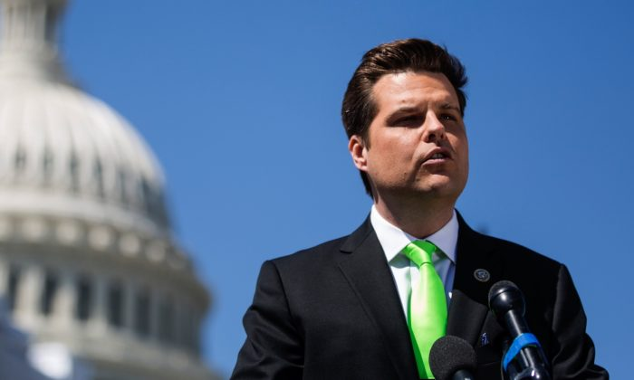 Rep. Matt Gaetz (R-FL) speaks during a news conference to announce the 'Green Real Deal' in Wash., DC., on April 3, 2019. (Zach Gibson/Getty Images)