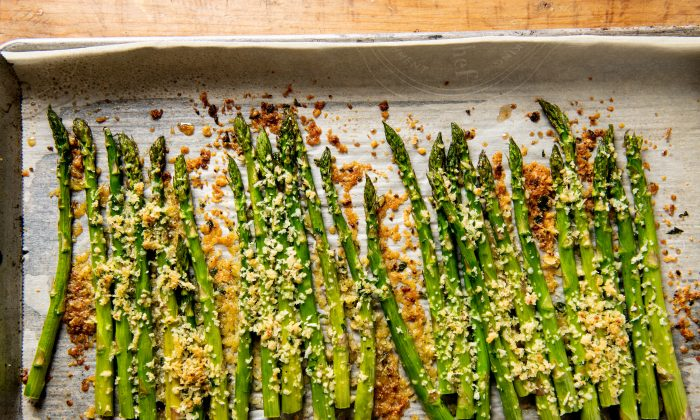 Panko and Parmesan cheese become a crispy, golden brown topping for roasted asparagus. (Cheyenne Cohen)