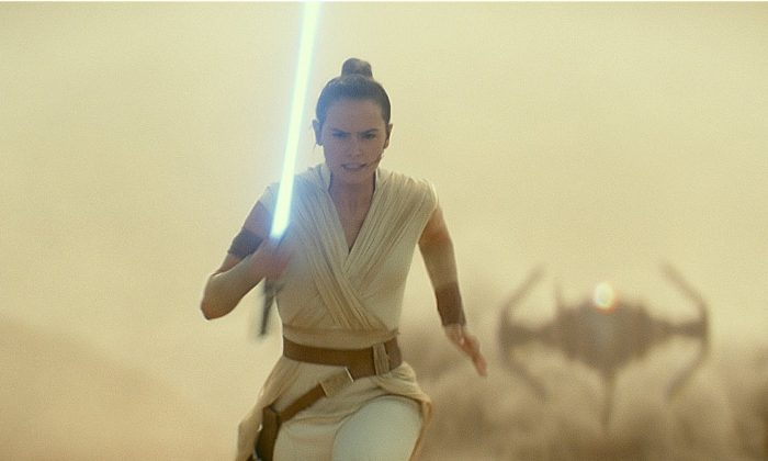 """This image released by Lucasfilm Ltd. shows Daisy Ridley as Rey in a scene from """"Star Wars: Episode IX."""" (Lucasfilm Ltd. via AP)"""