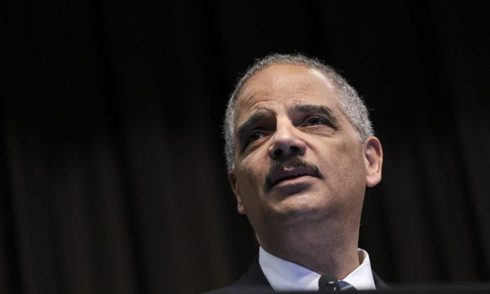 Attorney General Eric Holder speaks at the National Action Network's annual convention, April 3, 2019 in New York City. Drew Angerer/Getty Images
