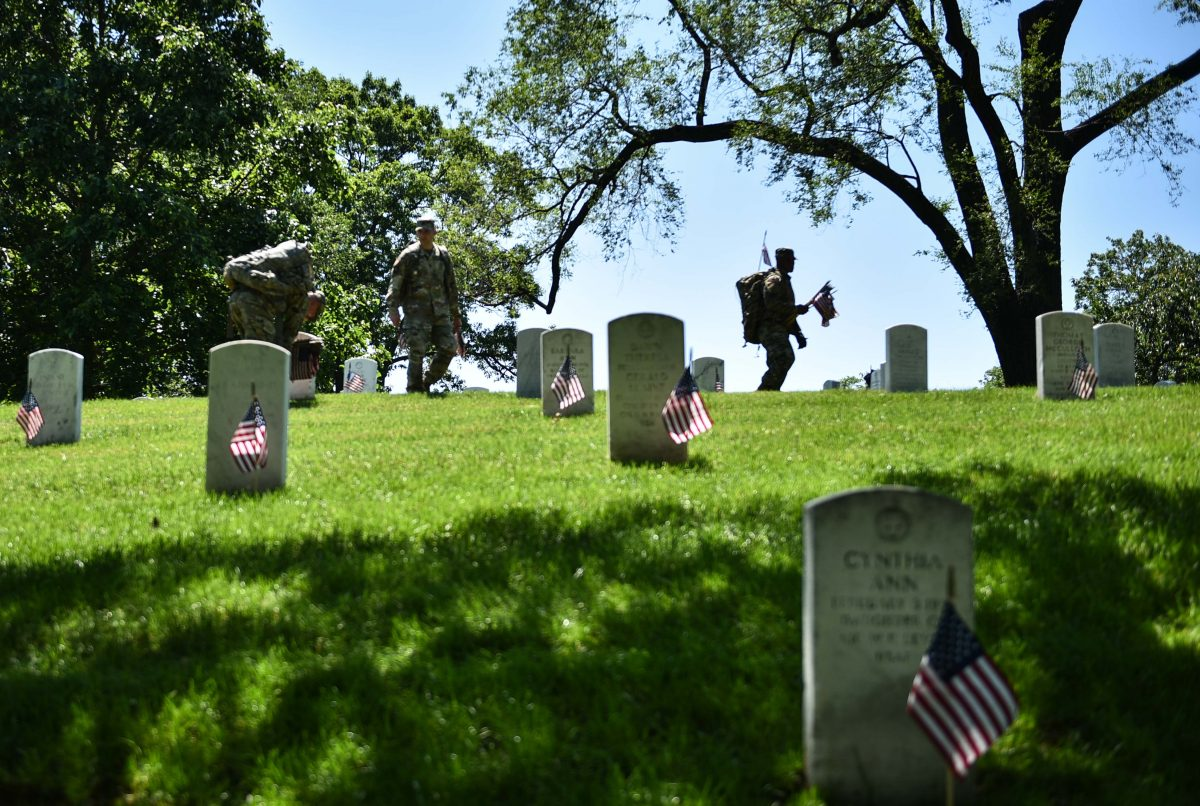U.S. flags on graves
