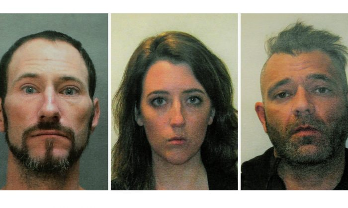 This November 2018 file combination of photos shows Johnny Bobbitt, left, Katelyn McClure and Mark D'Amico.(Burlington County Prosecutors Office via AP, File)