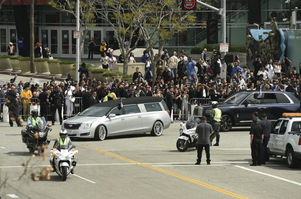 a hearse with the body of Nipsey Hussle