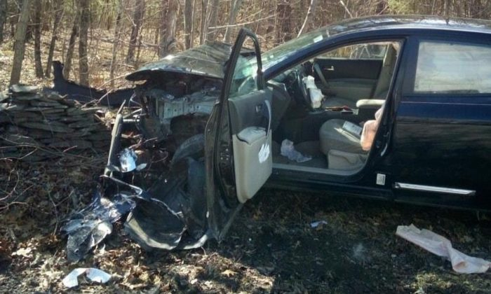 The driver of this car panicked and crashed the car after seeing a spider in the driver's area in Cairo, New York, on April 10, 2019. (Cairo New York Police Department)