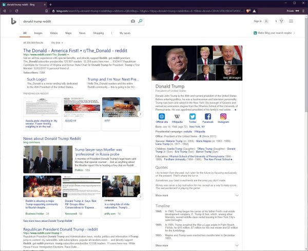 """Bing search results for the words """"donald trump reddit"""""""