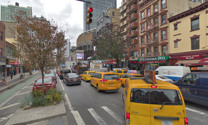 A mother was given a parking ticket for stopping her car in a no standing commercial zone to breastfeed her baby on 8th avenue in Manhattan. She said plans to fight the ticket. (Screenshot via Google Maps)