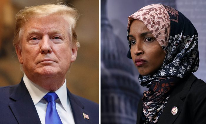 (L) President Donald Trump (Tom Brenner/Getty Images); Rep. Ilhan Omar (D-MN). (Alex Wong/Getty Images)