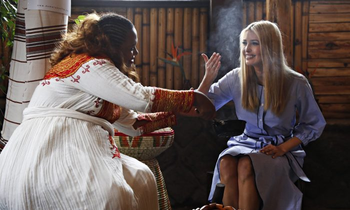 White House senior adviser Ivanka Trump (R) attends a coffee ceremony at Dumerso Coffee, in Addis Ababa, Ethiopia, on April 14, 2019. (Jacquelyn Martin/AP photo)