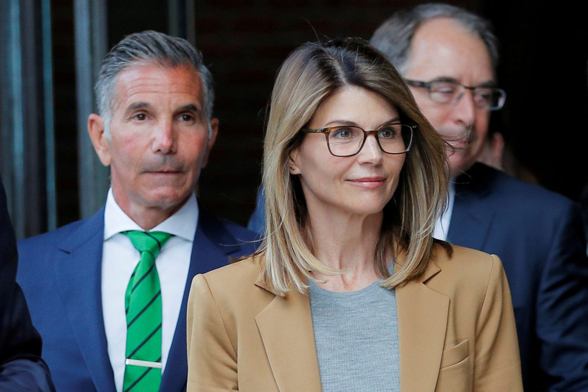 Actor Lori Loughlin, and her husband Mossimo Giannulli, leave the federal courthouse