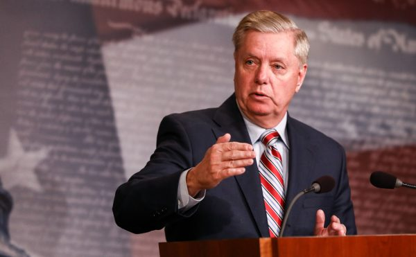 Sen. Lindsey Graham speaks to media about the Mueller report at the Capitol in Washington