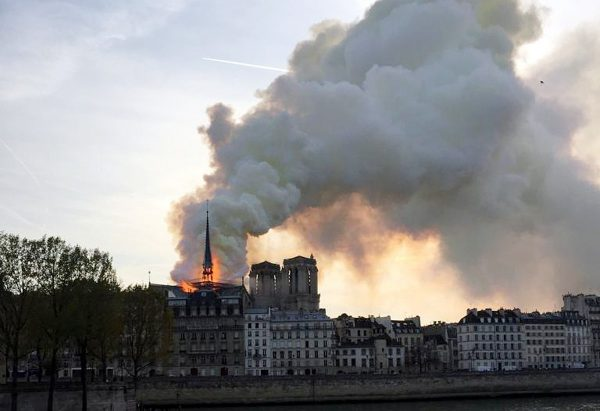 Smoke billows from the Notre Dame Cathedral after a fire broke out