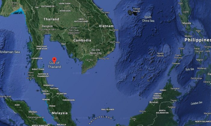The location of the oil rig where a dog was found swimming in the sea in the Gulf of Thailand. (Screenshot/Googlemaps)