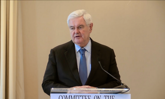 Former Speaker of the House Newt Gingrich speaks at a roundtable sponsored by the Committee on the Present Danger: China in Washington on April 9, 2019. (Screenshot/Committee on the Present Danger: China)