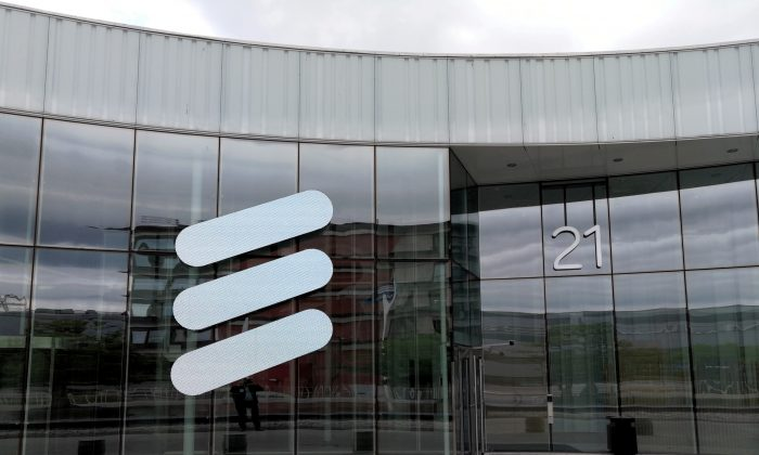 The Ericsson logo is seen at the Ericsson's headquarters in Stockholm, Sweden, on June 14, 2018.  (Reuters/Olof Swahnberg/File Photo)