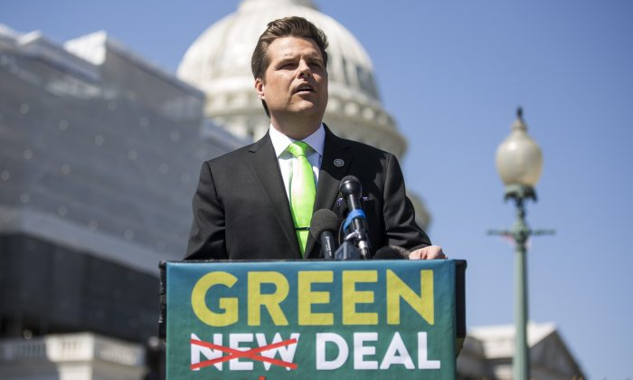"Rep. Matt Gaetz (R-Fla.) speaks during a news conference to announce the ""Green Real Deal"" in Washington on April 3, 2019. (Zach Gibson/Getty Images)"