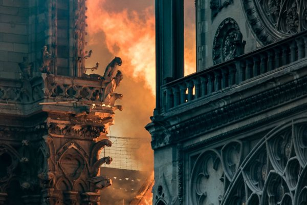 flames in Notre Dame