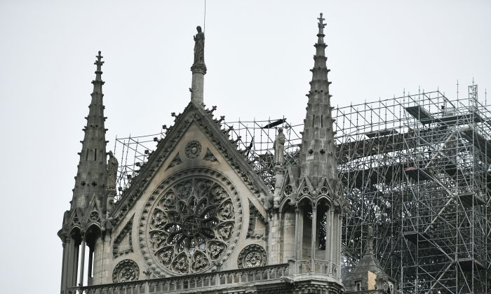 Notre Dame Cathedral in Paris on April 16, 2019, in the aftermath of a fire that caused its spire to crash to the ground. (Stephanie de Sakutin/AFP/Getty Images)