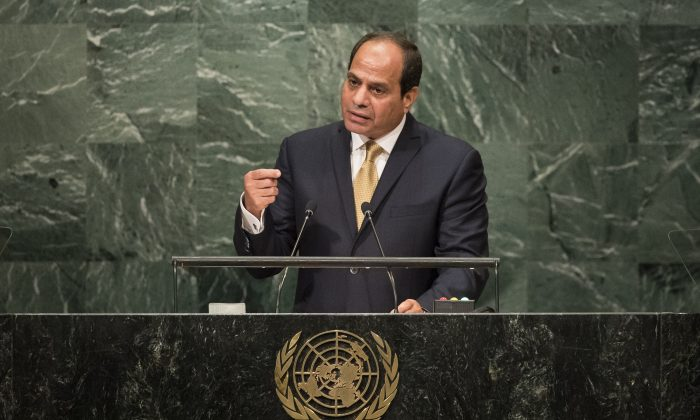 President of Egypt Abdel Fattah Al Sisi addresses the United Nations General Assembly at UN headquarters, Sept. 20, 2016 in New York City. (Drew Angerer/Getty Images)