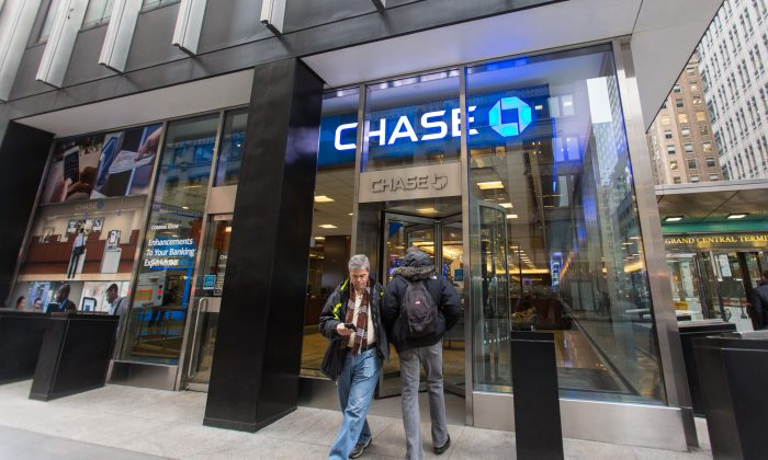A Chase bank branch on Madison Avenue in Midtown New York, on Jan. 8, 2016. (Ingrid Longauer/Epoch Times)