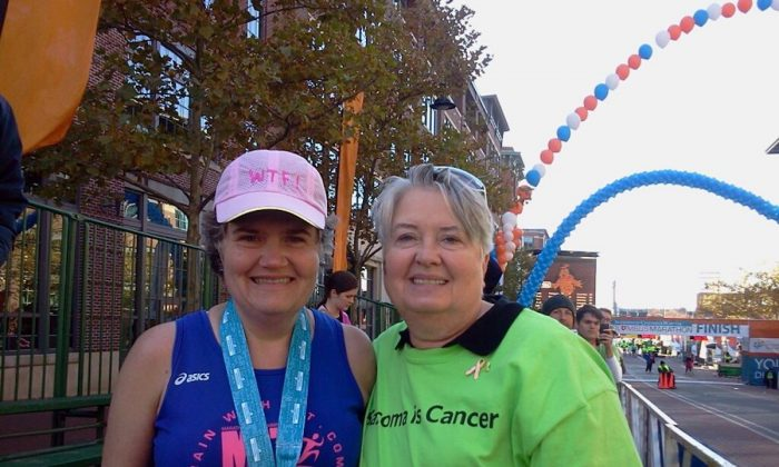 Nita Sweeney (L) after the 2012 Columbus Marathon. (Courtesy of Sue Nivam)