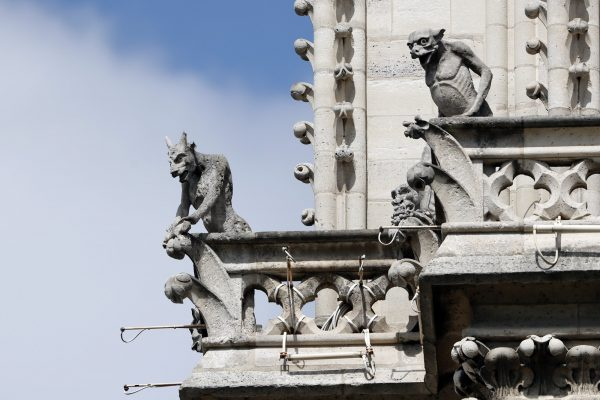 Preserved gargoyles of Notre Dame cathedral are pictured in Paris ,