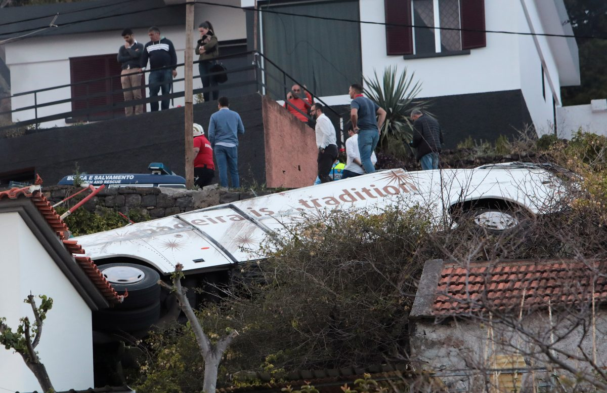 a bus crashes in Madeira, Portugal