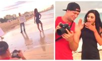 Woman on Photo Shoot Has No Idea BF's Holding Signs Behind Her— When She Sees the Photos, She's Stunned