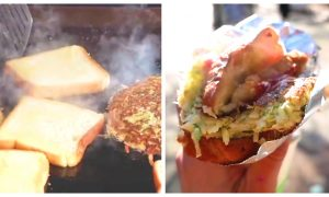 Street Vendor Makes Mouth-Watery Sandwich With Fluffy Omelette and Crispy Buttery Toast