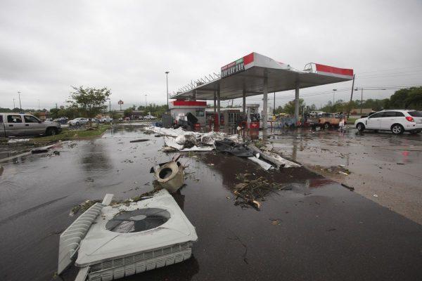 A gas station damaged by the flood in Vicksburg, Mississippi, on April 13, 2019.