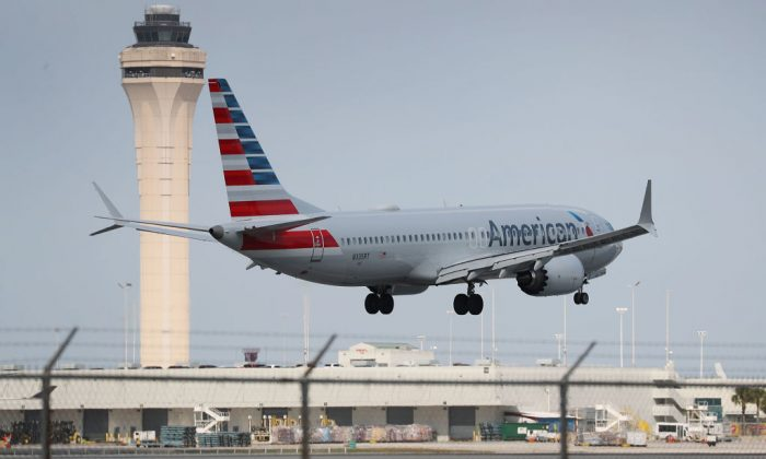 An American Airlines Boeing 737 Max 8 prepares to land at the Miami International Airport in Miami, Florida on March 12, 2019. (Joe Raedle/Getty Images)