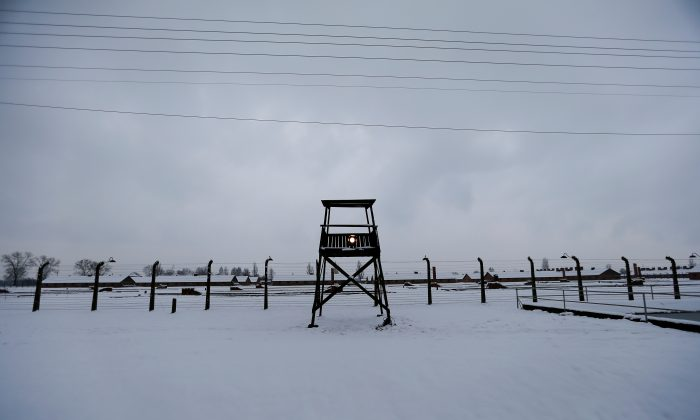 A guard tower is seen at the former German Nazi concentration and extermination camp Auschwitz-Birkenau near Oswiecim, on Jan. 26, 2015. (Laszlo Balogh/File Photo via Reuters)