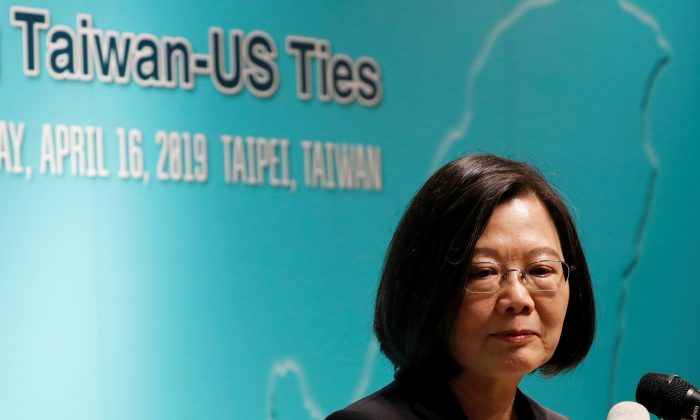Taiwan's President Tsai Ing-wen speaks during an event that marks the 40th anniversary of the Taiwan Relations Act in Taipei on April 16, 2019. (Tyrone Siu/Reuters)
