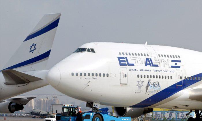 An El Al Boeing 747 passenger jet lands at Ben Gurion Airport near Tel Aviv, Israel, on July 9, 2003. (David Silverman/Getty Images)