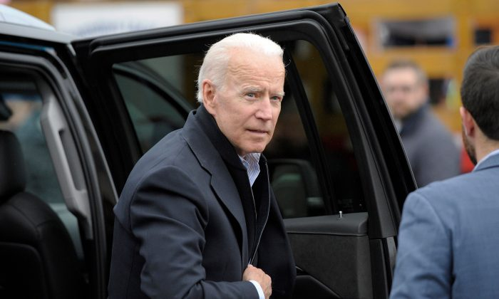 Former vice president Joe Biden arrives at a rally organized by UFCW Union members in Dorchester, Mass., on April 18, 2019. (Joseph Prezioso/AFP/Getty Images)