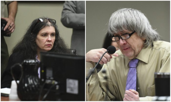 Louise and David Turpin at their sentencing hearing in a Californian court on April 19, 2019. (Will Lester/The Orange County Register via AP, Pool)
