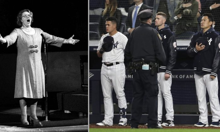 Late Singer Kate Smith performs 'God Bless America' in Philadelphia, on May 13, 1975 (AP File Photo) and New York Yankees players in New York, on April 18, 2019. (Julio Cortez/AP Photo)