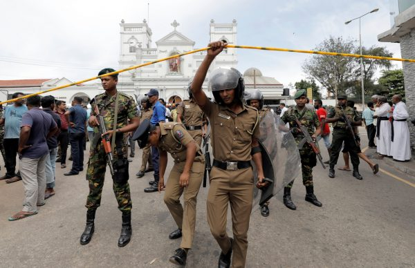 Sri Lankan military officials after Easter blasts