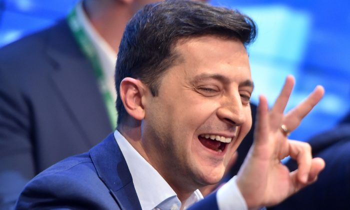 Ukrainian president-elect reacts Volodymyr Zelensky after the announcement of exit poll results in Kiev on April 21, 2019. (Sergei Gapon/AFP/Getty Images)