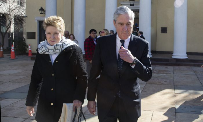 Special counselRobert Mueller walks with his wife Ann Mueller in Washington  on March 24, 2019. (Tasos Katopodis/Getty Images)