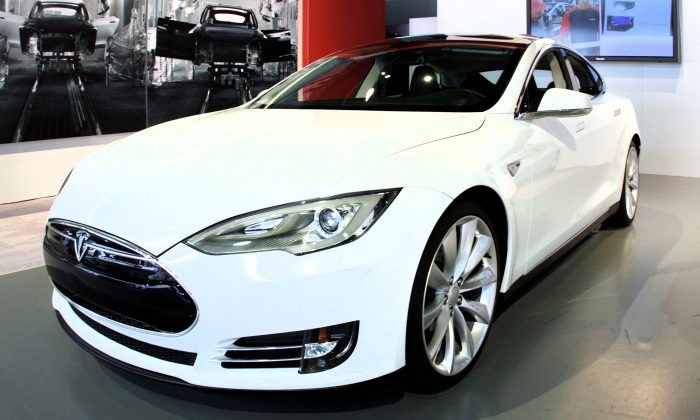 Stock image of a Tesla Model S at a media preview. (Bill Pugliano/Getty Images)