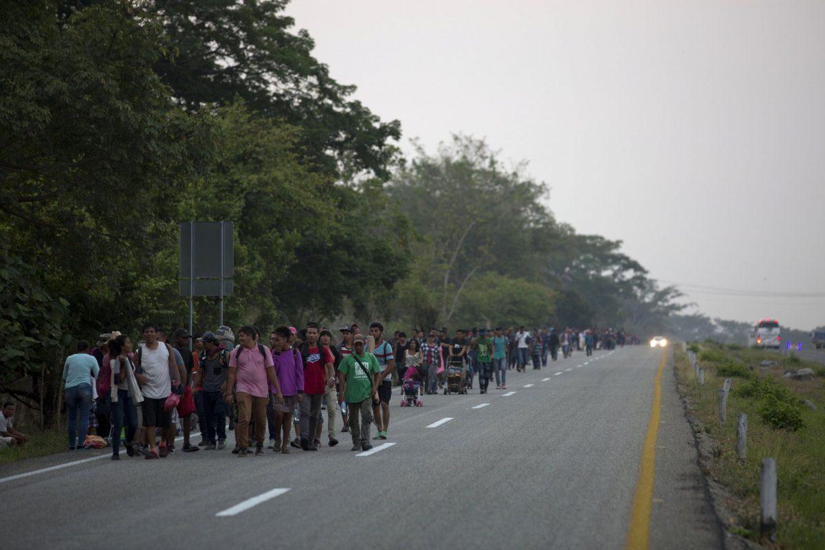 Central American migrants traveling in a caravan