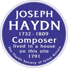 haydns blue plaque