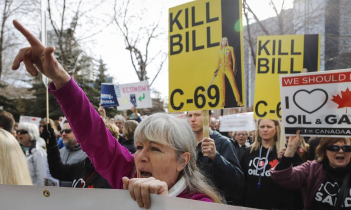 Pro-pipeline supporters rally outside a public hearing of the Senate Committee on Energy, the Environment, and Natural Resources regarding Bill C-69 in Calgary on April 9, 2019. (The Canadian Press/Jeff McIntosh)