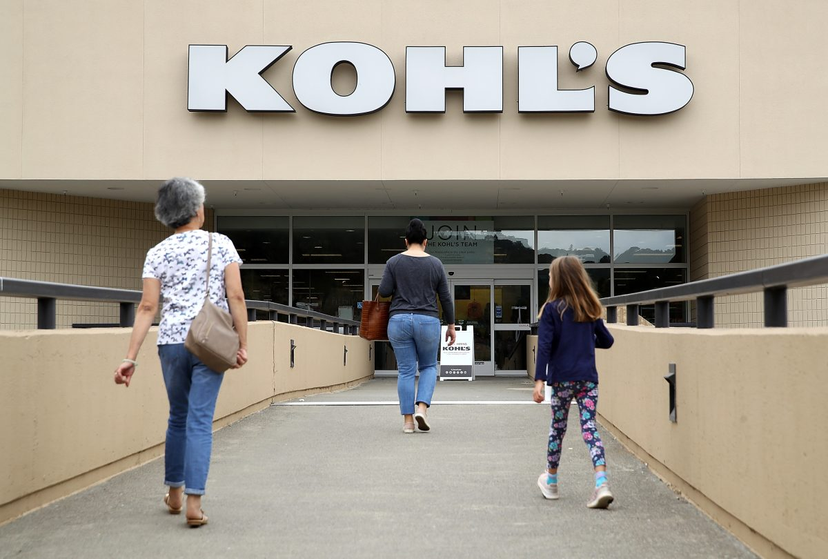 Customers enter a Kohl's store